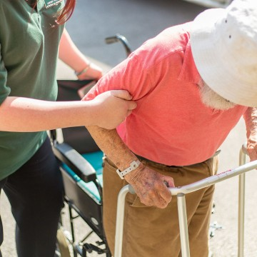 bakewell cottage nursing home resident being helped