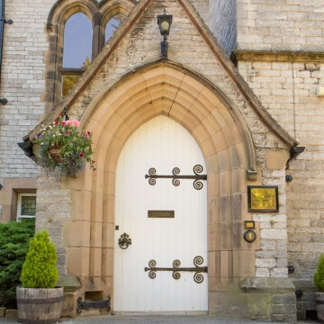 front door of old vicarage residential home bakewell