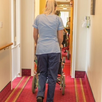 bakewell cottage nursing home resident being pushed in wheel chair